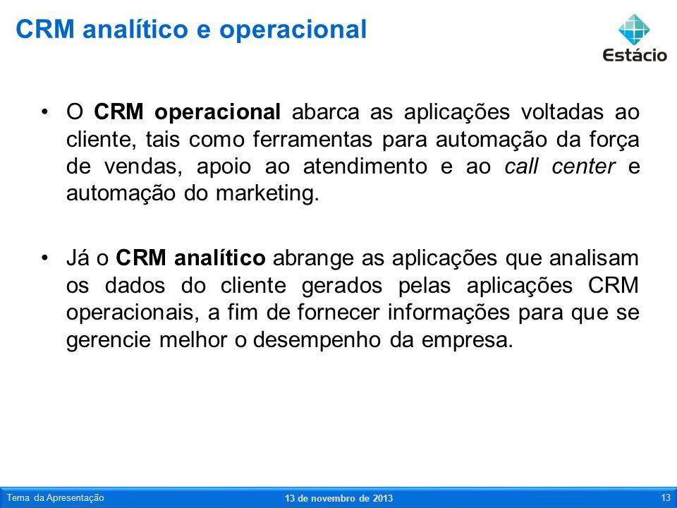 CRM analítico e operacional
