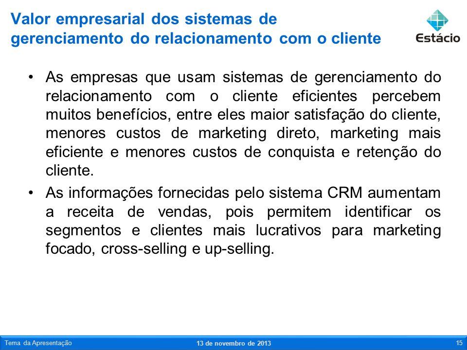 Valor empresarial dos sistemas de gerenciamento do relacionamento com o cliente