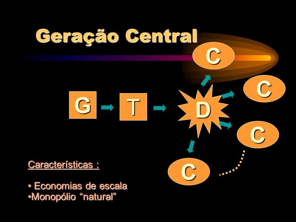 C C D G T C C Geração Central Características : Economias de escala