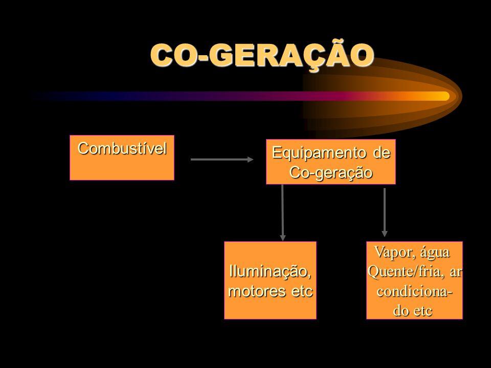 CO-GERAÇÃO Combustível Equipamento de Co-geração Iluminação,