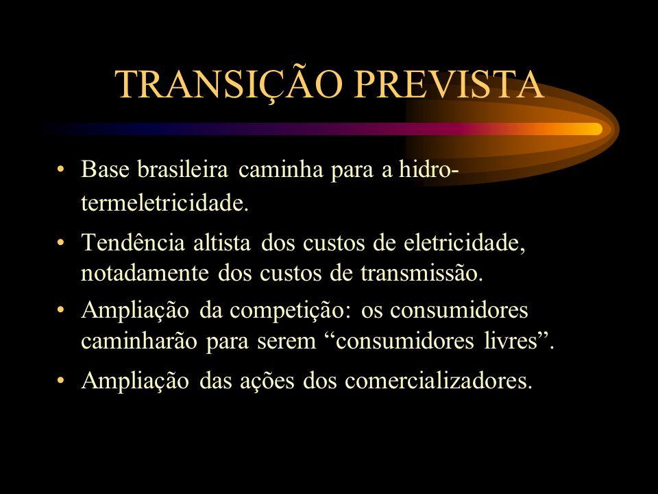TRANSIÇÃO PREVISTA Base brasileira caminha para a hidro-termeletricidade.