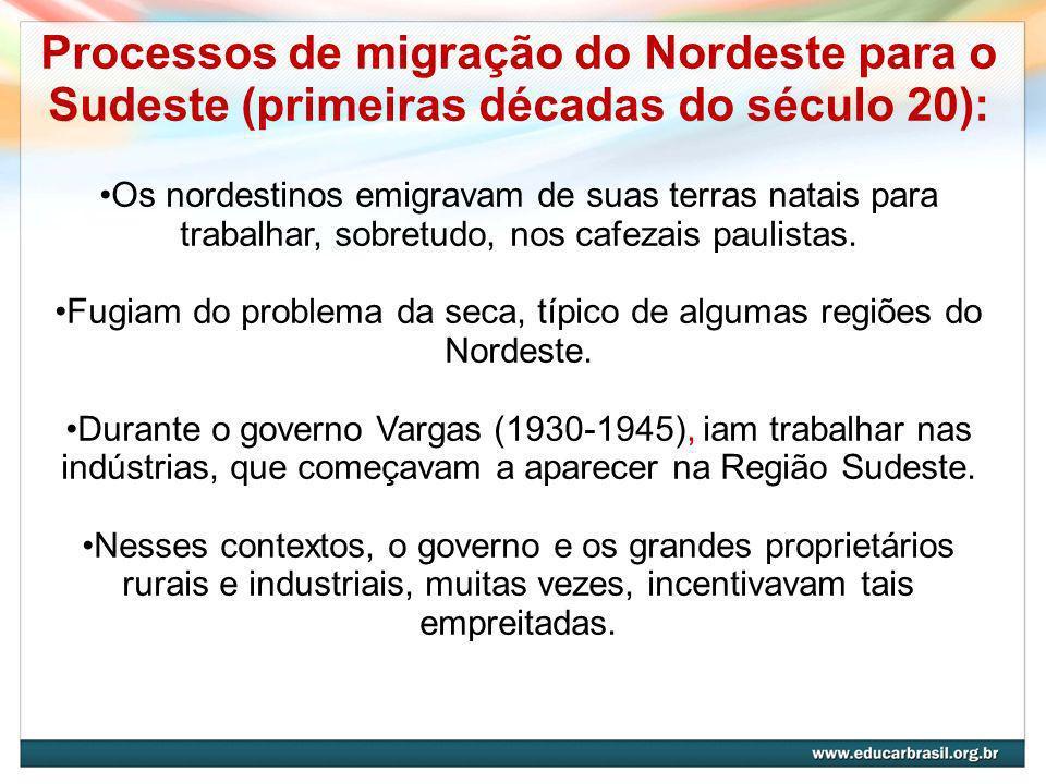 Fugiam do problema da seca, típico de algumas regiões do Nordeste.