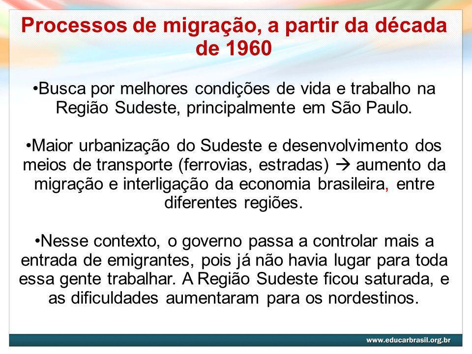 Processos de migração, a partir da década de 1960