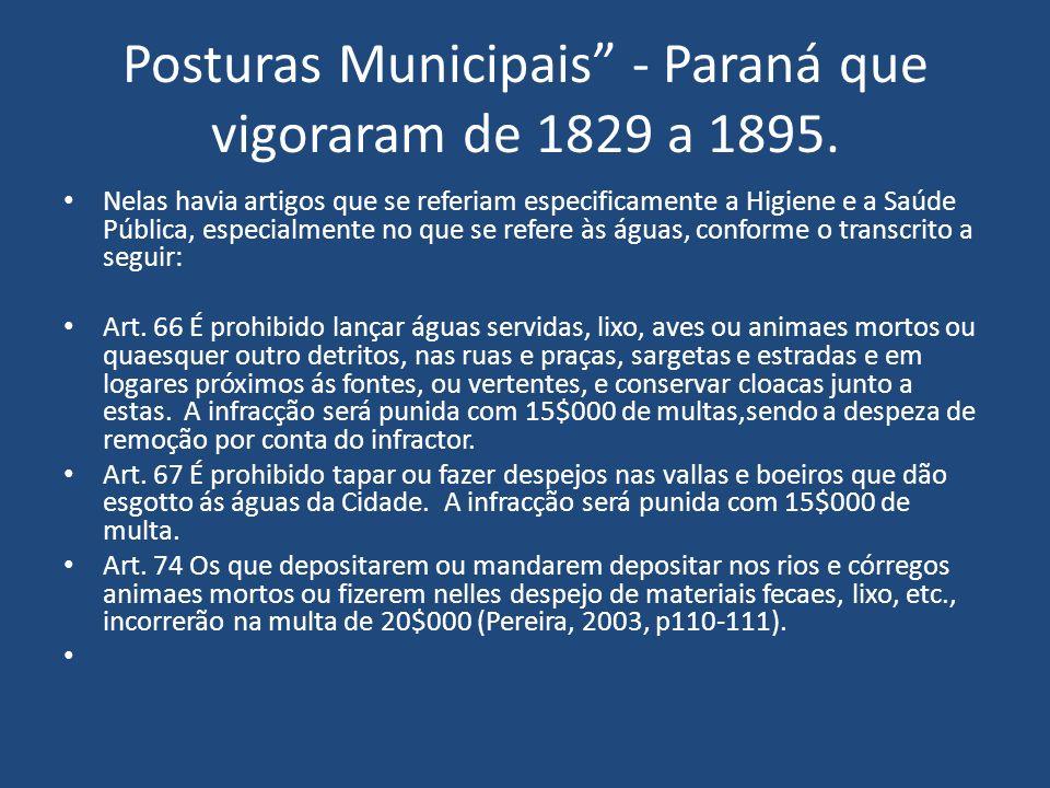 Posturas Municipais - Paraná que vigoraram de 1829 a 1895.