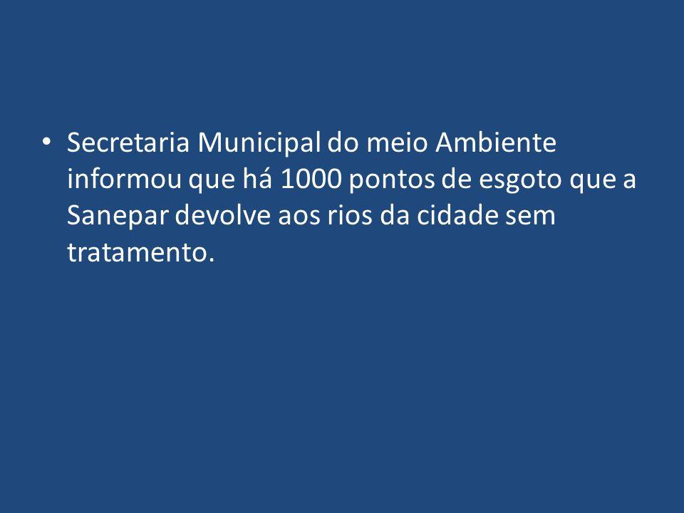 Secretaria Municipal do meio Ambiente informou que há 1000 pontos de esgoto que a Sanepar devolve aos rios da cidade sem tratamento.