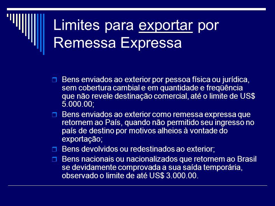 Limites para exportar por Remessa Expressa
