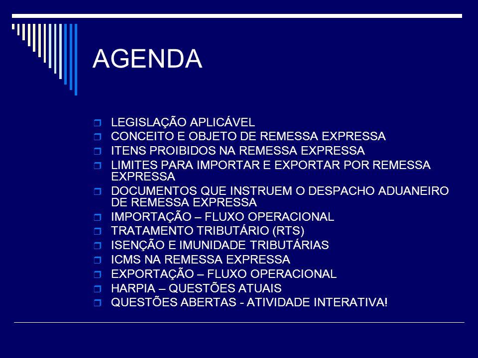 AGENDA LEGISLAÇÃO APLICÁVEL CONCEITO E OBJETO DE REMESSA EXPRESSA