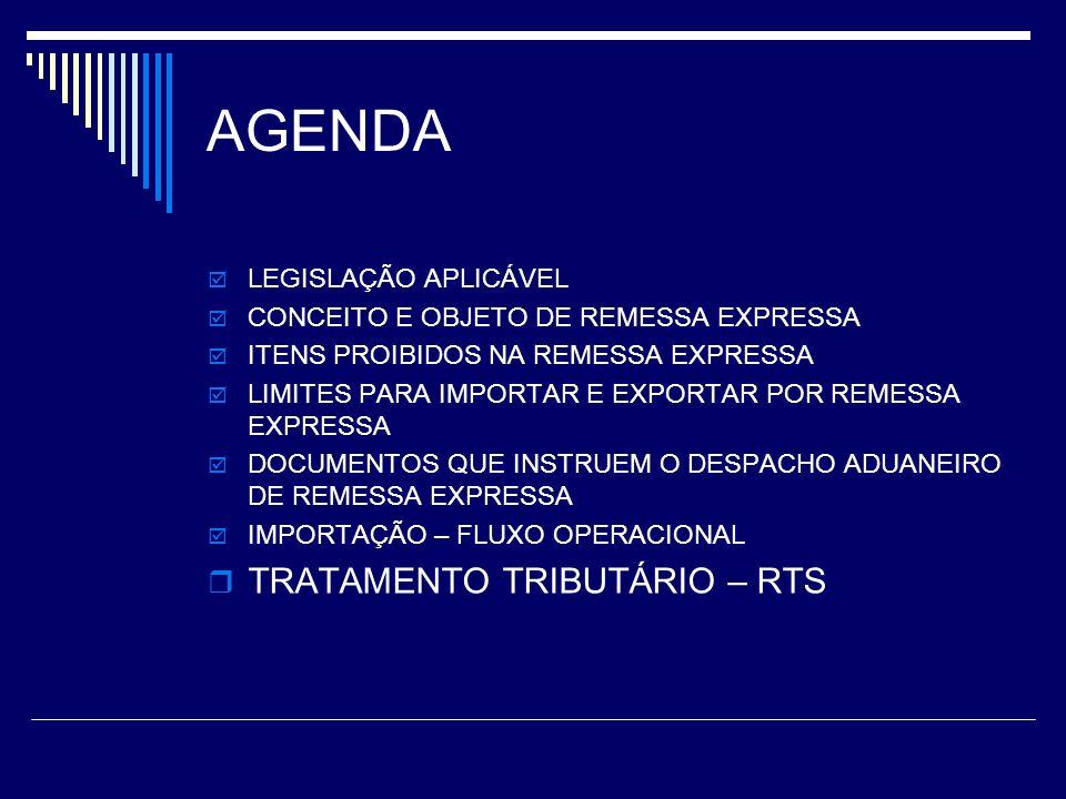 AGENDA TRATAMENTO TRIBUTÁRIO – RTS LEGISLAÇÃO APLICÁVEL