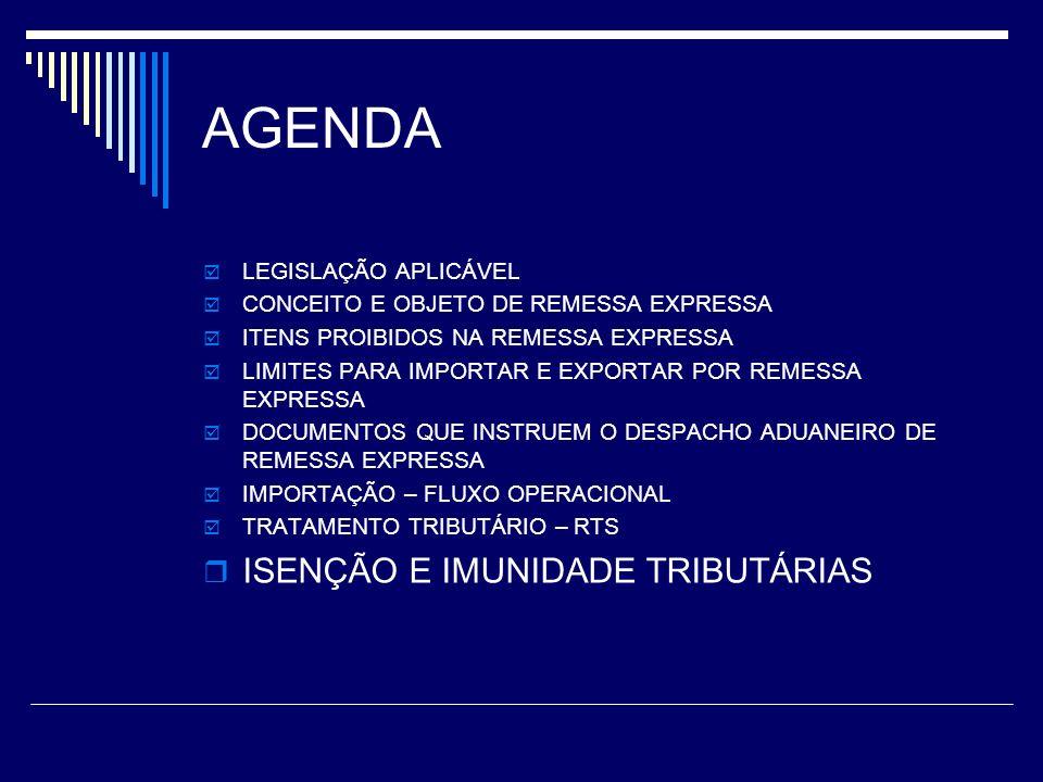 AGENDA ISENÇÃO E IMUNIDADE TRIBUTÁRIAS LEGISLAÇÃO APLICÁVEL