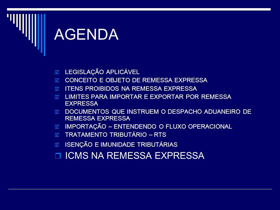 AGENDA ICMS NA REMESSA EXPRESSA LEGISLAÇÃO APLICÁVEL