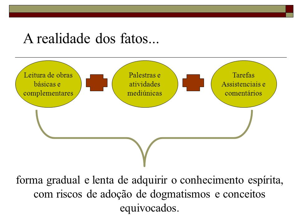 A realidade dos fatos...Leitura de obras. básicas e. complementares. Palestras e. atividades. mediúnicas.
