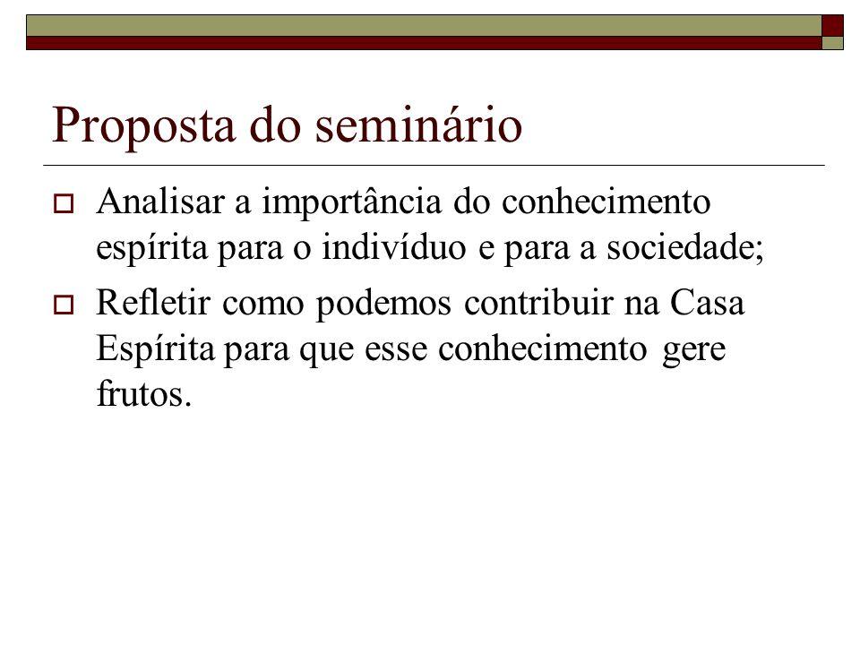 Proposta do seminárioAnalisar a importância do conhecimento espírita para o indivíduo e para a sociedade;