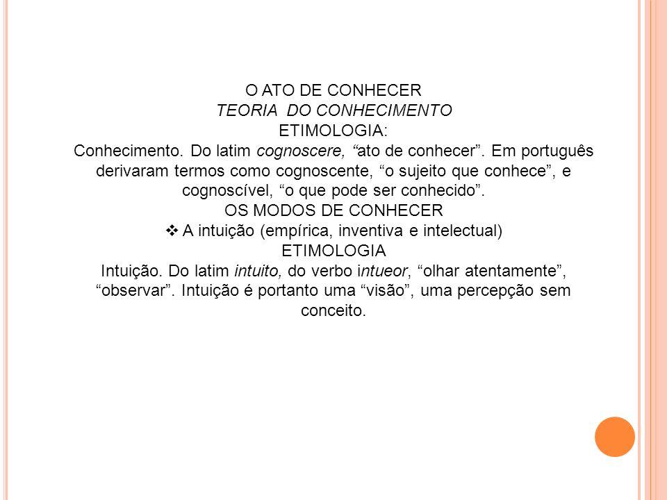 TEORIA DO CONHECIMENTO ETIMOLOGIA: