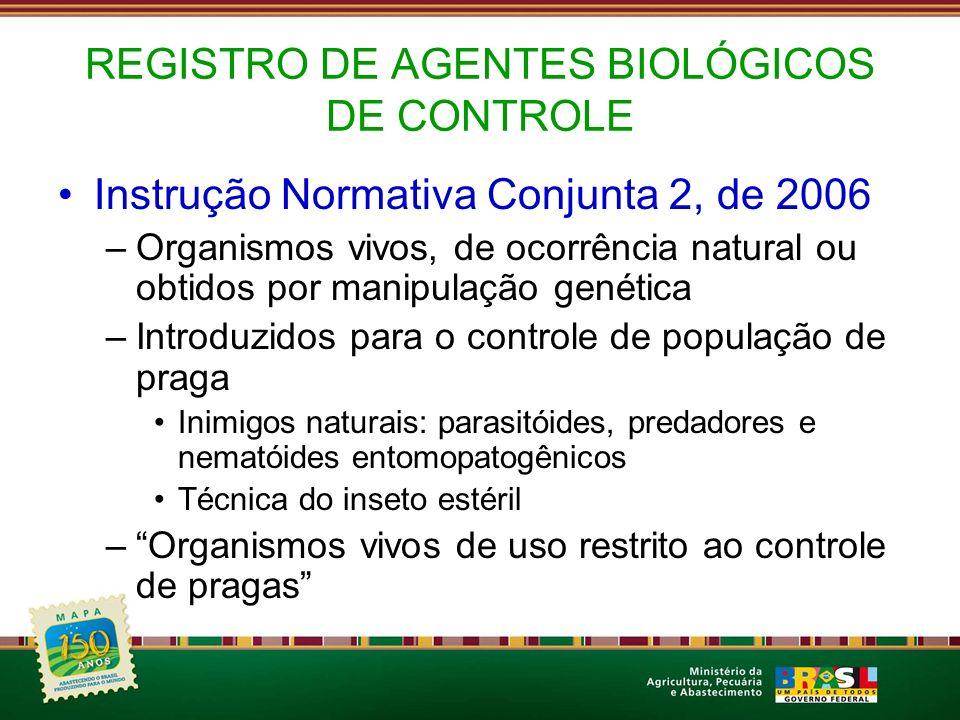 REGISTRO DE AGENTES BIOLÓGICOS DE CONTROLE