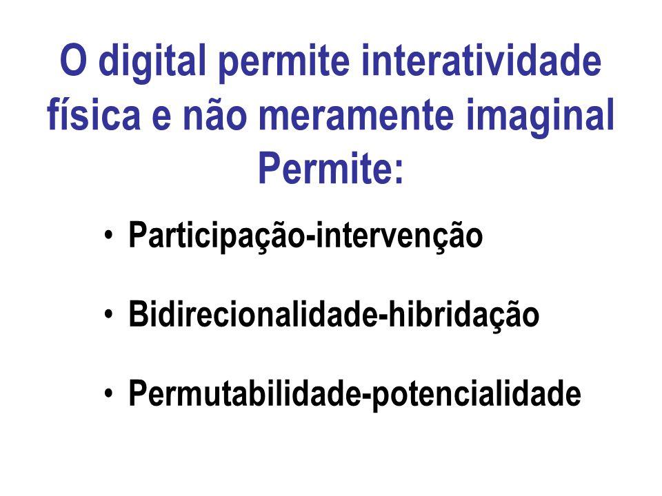O digital permite interatividade física e não meramente imaginal Permite: