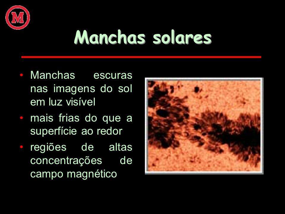 Manchas solares Manchas escuras nas imagens do sol em luz visível