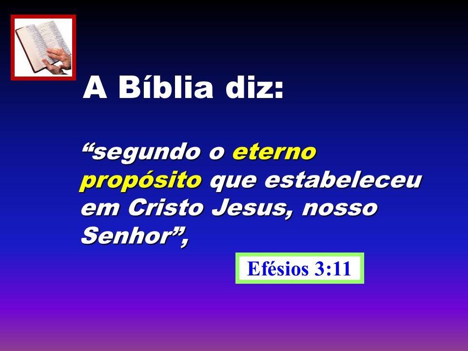 A Bíblia diz: segundo o eterno propósito que estabeleceu em Cristo Jesus, nosso Senhor , Efésios 3:11.