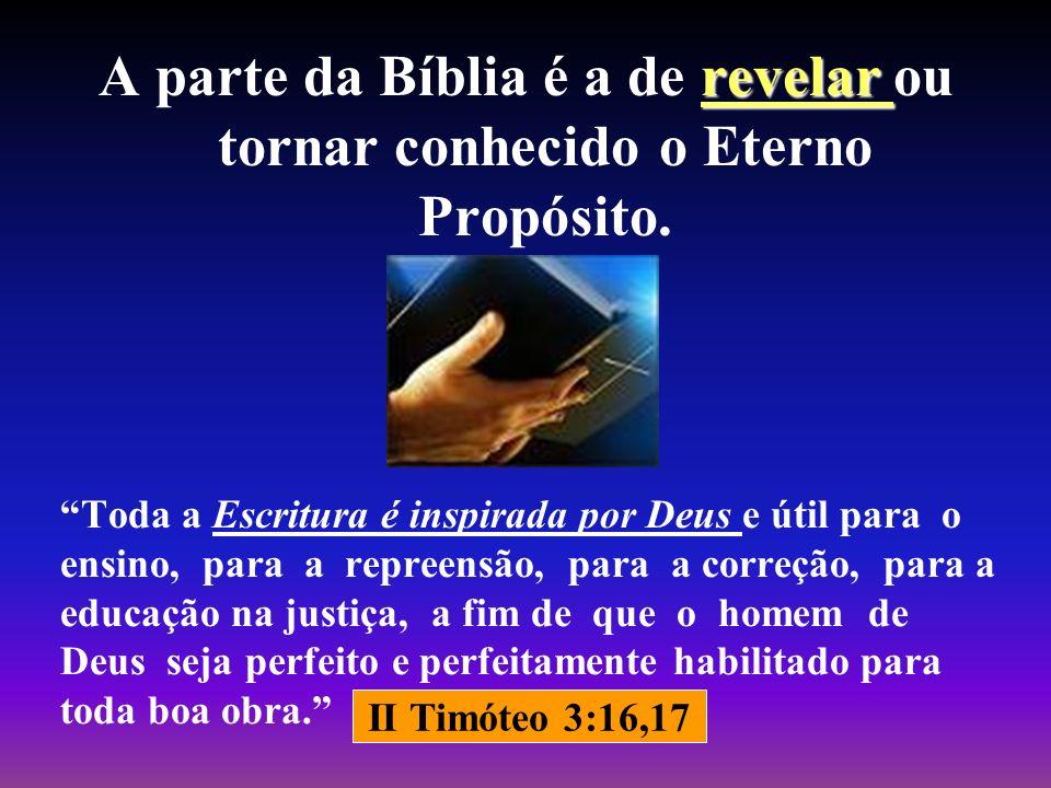 A parte da Bíblia é a de revelar ou tornar conhecido o Eterno Propósito.