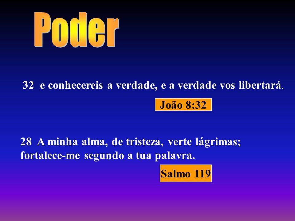Poder 32 e conhecereis a verdade, e a verdade vos libertará. João 8:32