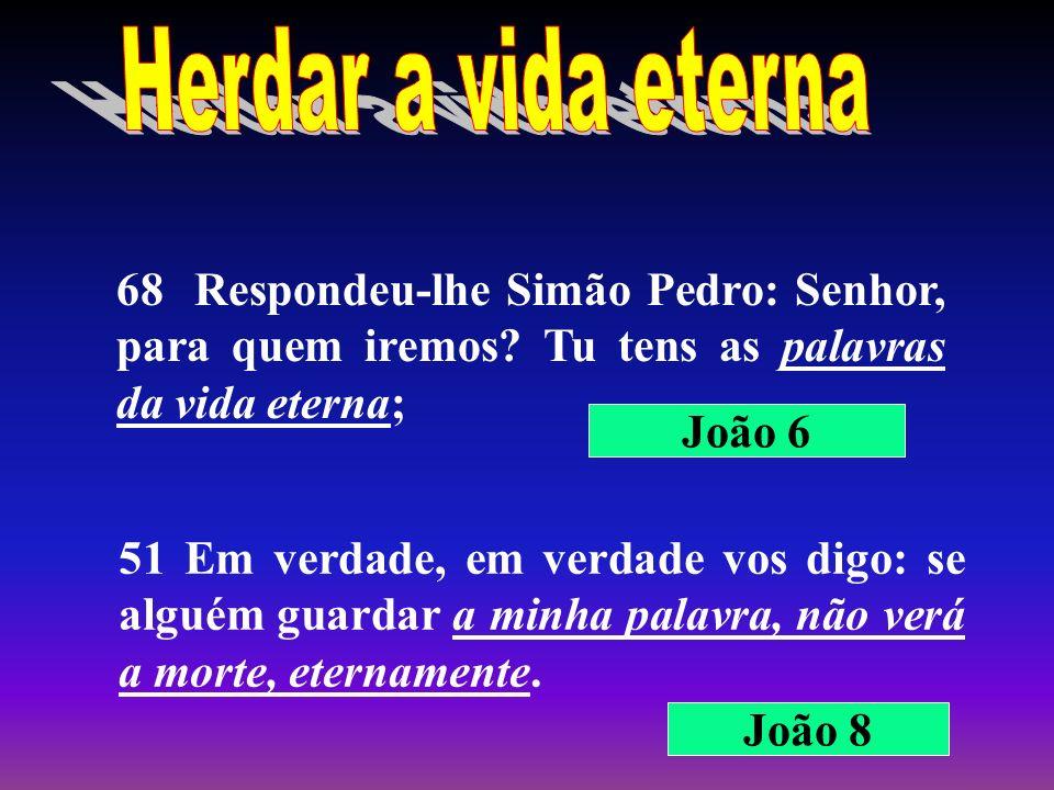 Herdar a vida eterna 68 Respondeu-lhe Simão Pedro: Senhor, para quem iremos Tu tens as palavras da vida eterna;