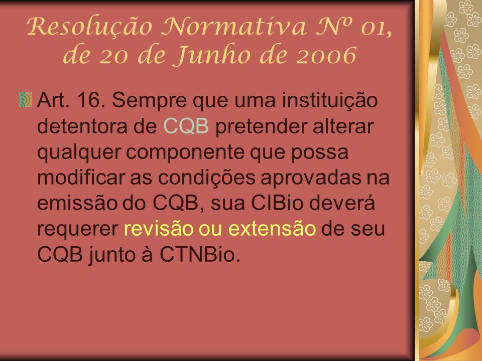 Resolução Normativa Nº 01, de 20 de Junho de 2006