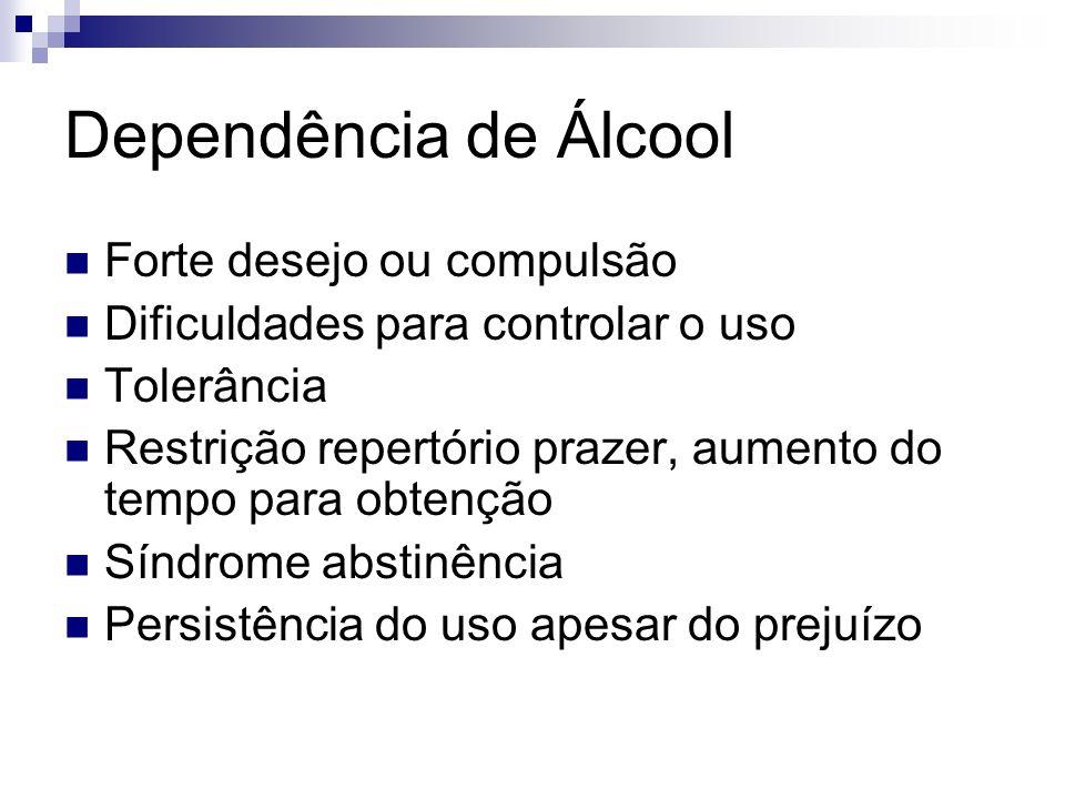 Dependência de Álcool Forte desejo ou compulsão