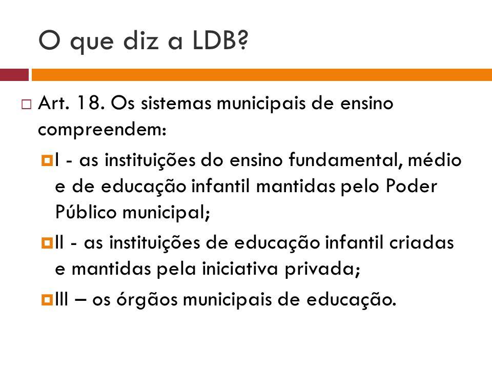 O que diz a LDB Art. 18. Os sistemas municipais de ensino compreendem: