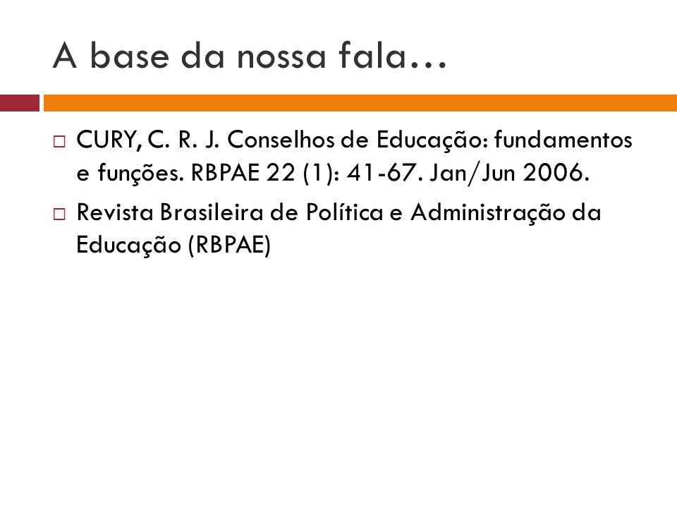 A base da nossa fala… CURY, C. R. J. Conselhos de Educação: fundamentos e funções. RBPAE 22 (1): 41-67. Jan/Jun 2006.