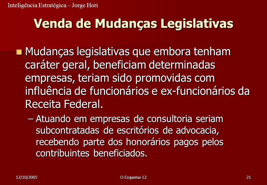 Venda de Mudanças Legislativas