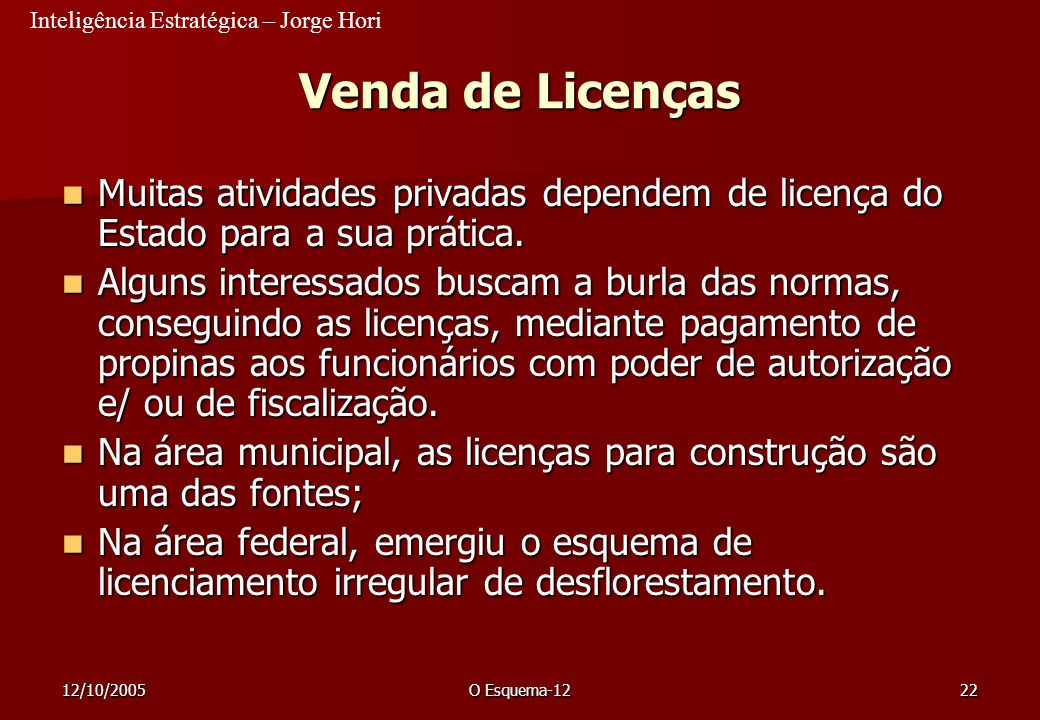 23/03/2017 Venda de Licenças. Muitas atividades privadas dependem de licença do Estado para a sua prática.