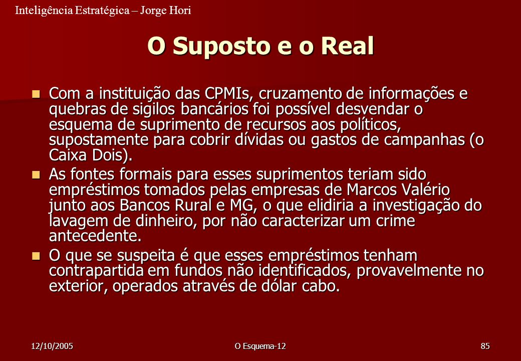 23/03/2017 O Suposto e o Real.