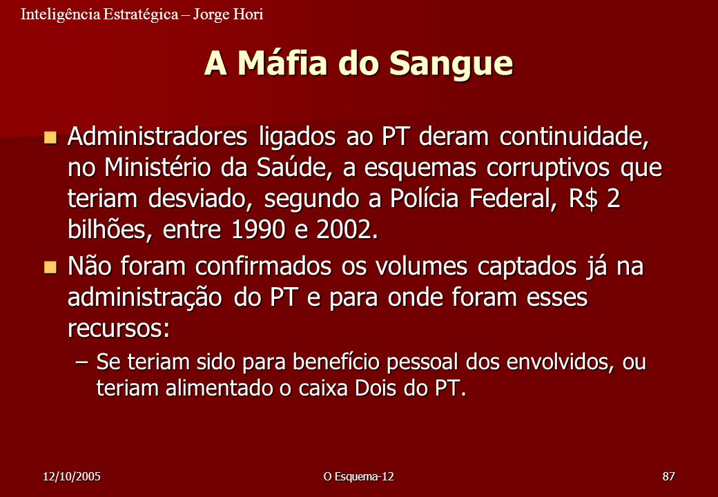 23/03/2017 A Máfia do Sangue.