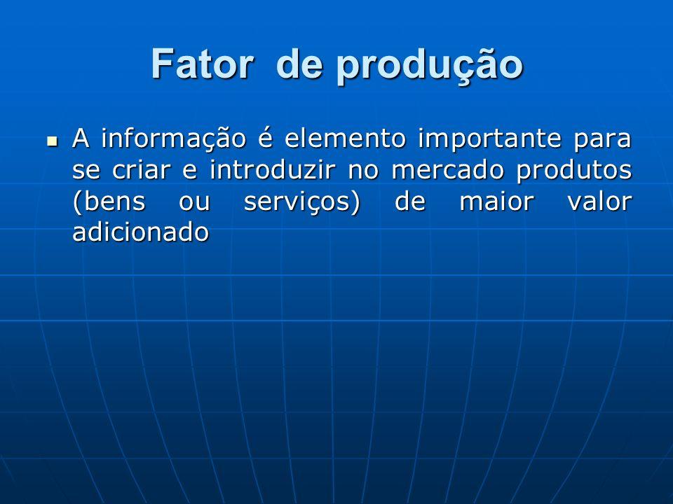 Fator de produção A informação é elemento importante para se criar e introduzir no mercado produtos (bens ou serviços) de maior valor adicionado.