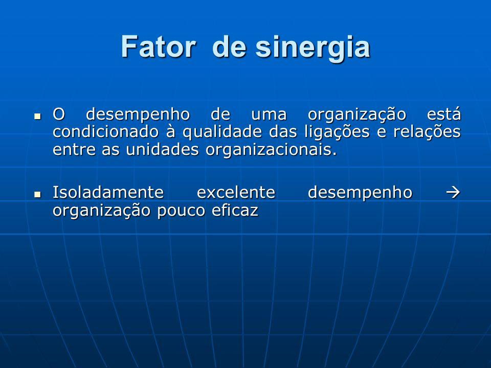 Fator de sinergia O desempenho de uma organização está condicionado à qualidade das ligações e relações entre as unidades organizacionais.