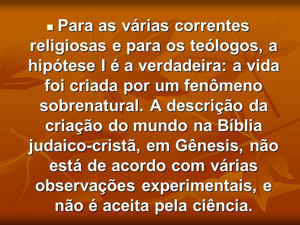 Para as várias correntes religiosas e para os teólogos, a hipótese I é a verdadeira: a vida foi criada por um fenômeno sobrenatural.
