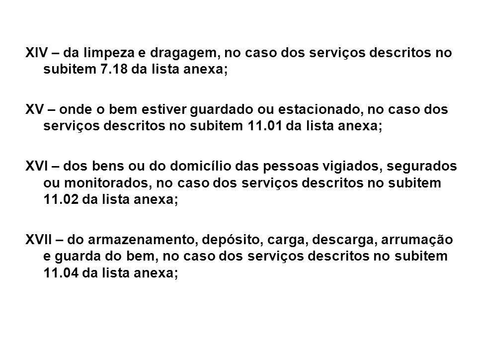 XIV – da limpeza e dragagem, no caso dos serviços descritos no subitem 7.18 da lista anexa;