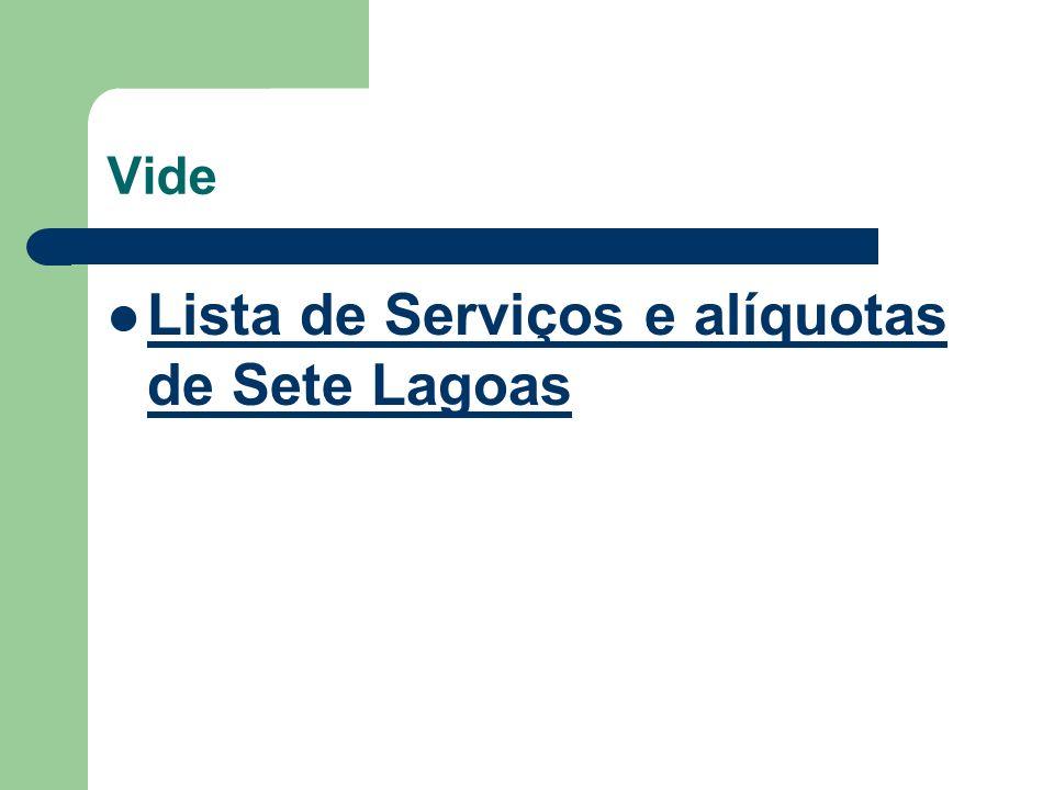 Lista de Serviços e alíquotas de Sete Lagoas