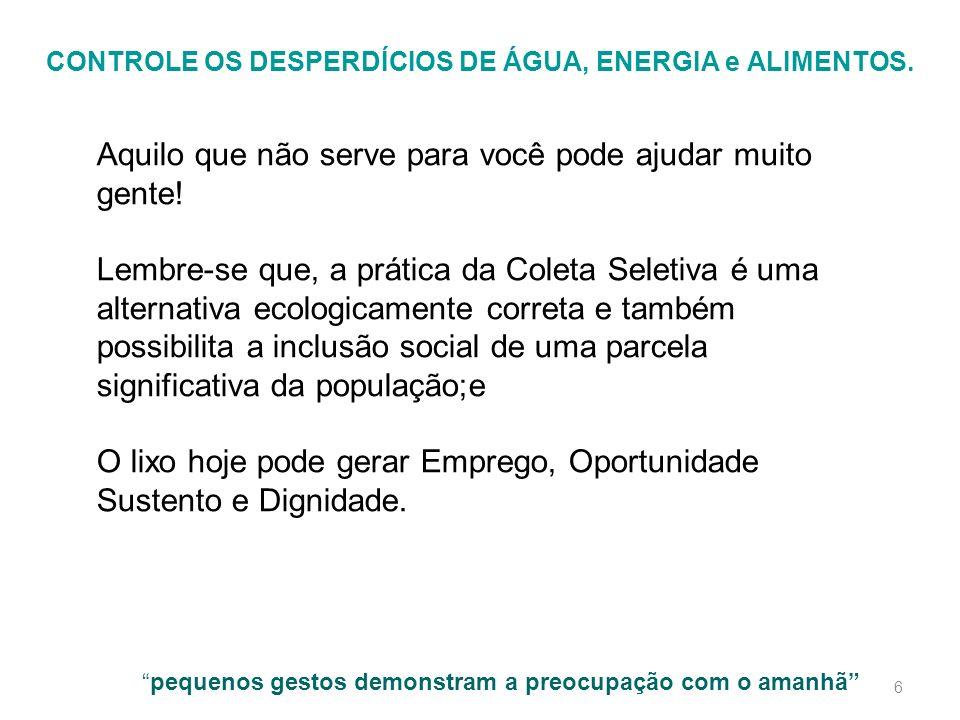 CONTROLE OS DESPERDÍCIOS DE ÁGUA, ENERGIA e ALIMENTOS.