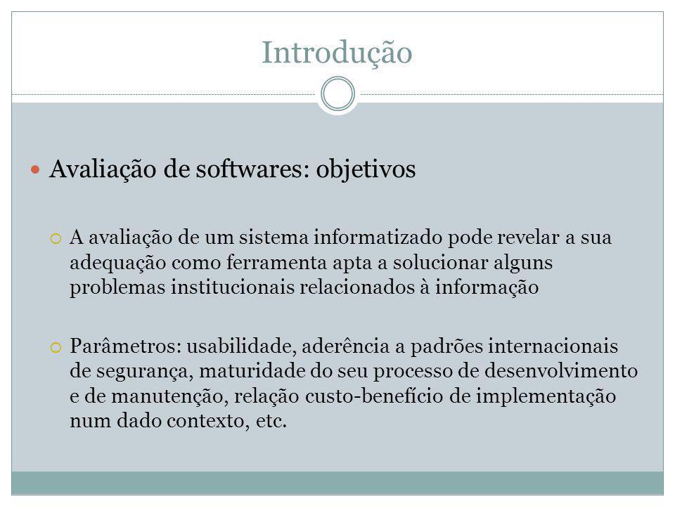 Introdução Avaliação de softwares: objetivos