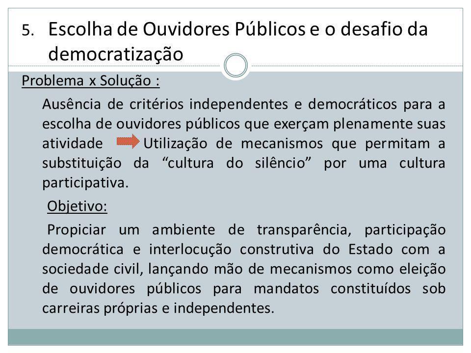 Escolha de Ouvidores Públicos e o desafio da democratização