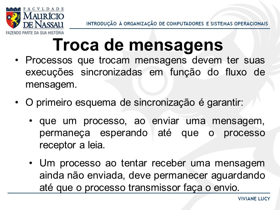 Troca de mensagens Processos que trocam mensagens devem ter suas execuções sincronizadas em função do fluxo de mensagem.