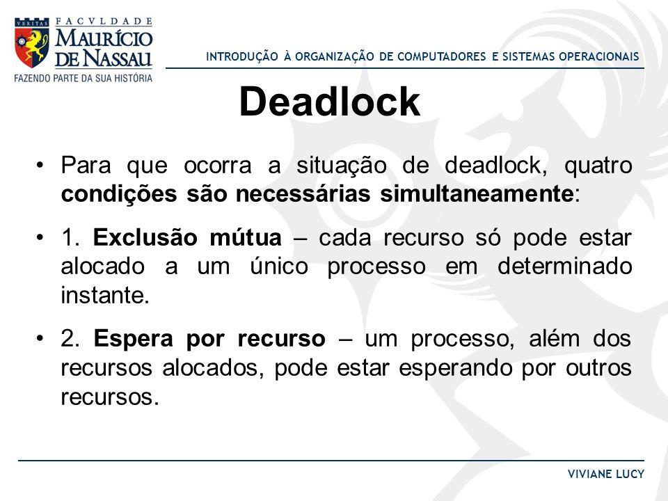 Deadlock Para que ocorra a situação de deadlock, quatro condições são necessárias simultaneamente: