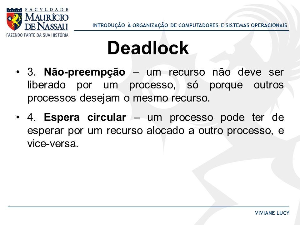 Deadlock 3. Não-preempção – um recurso não deve ser liberado por um processo, só porque outros processos desejam o mesmo recurso.