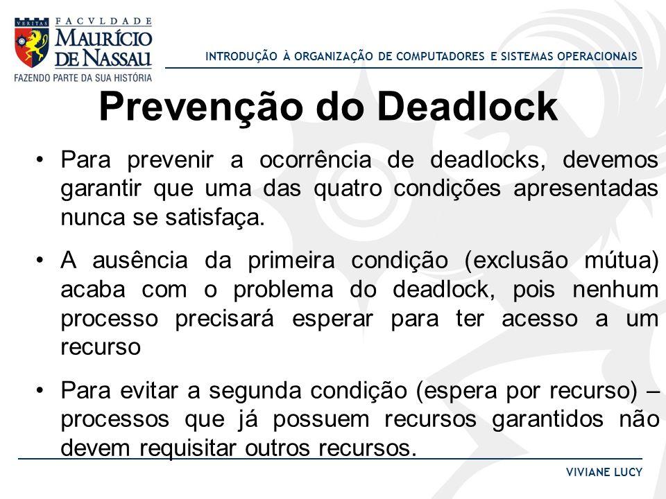 Prevenção do Deadlock Para prevenir a ocorrência de deadlocks, devemos garantir que uma das quatro condições apresentadas nunca se satisfaça.