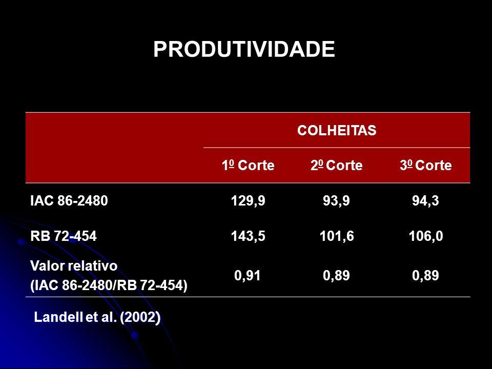 PRODUTIVIDADE COLHEITAS 10 Corte 20 Corte 30 Corte IAC 86-2480 129,9