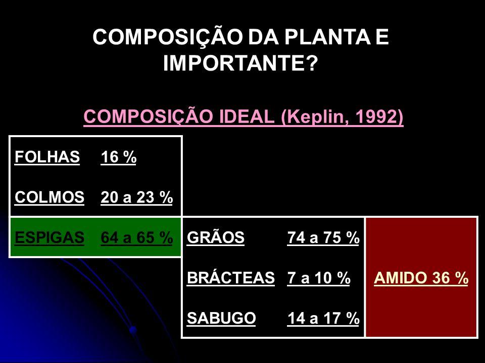 COMPOSIÇÃO DA PLANTA E IMPORTANTE COMPOSIÇÃO IDEAL (Keplin, 1992)