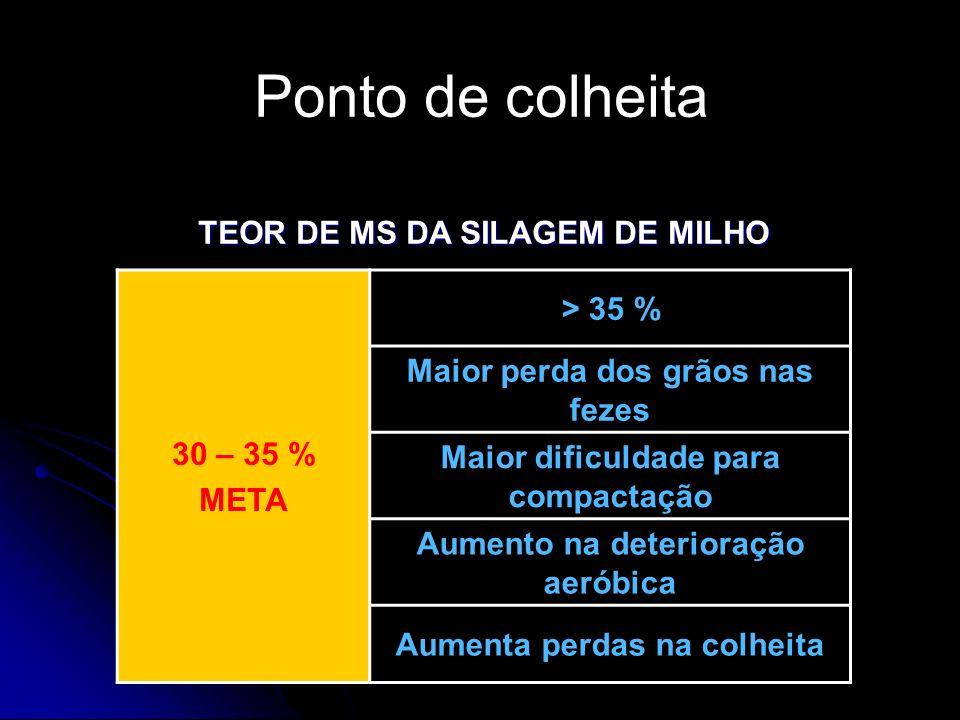 Ponto de colheita TEOR DE MS DA SILAGEM DE MILHO 30 – 35 % > 35 %