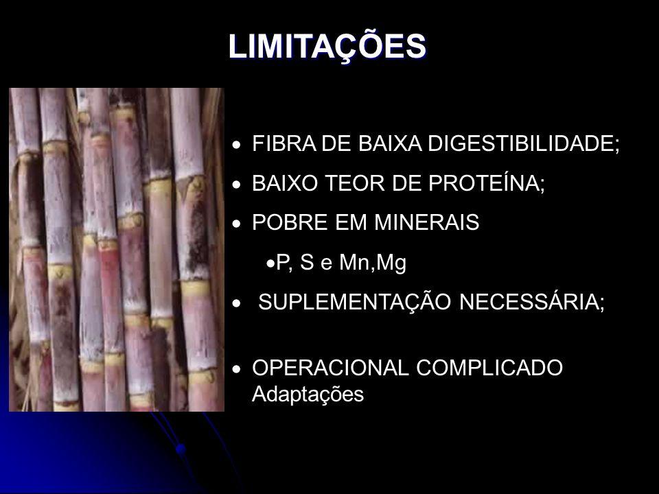 LIMITAÇÕES FIBRA DE BAIXA DIGESTIBILIDADE; BAIXO TEOR DE PROTEÍNA;
