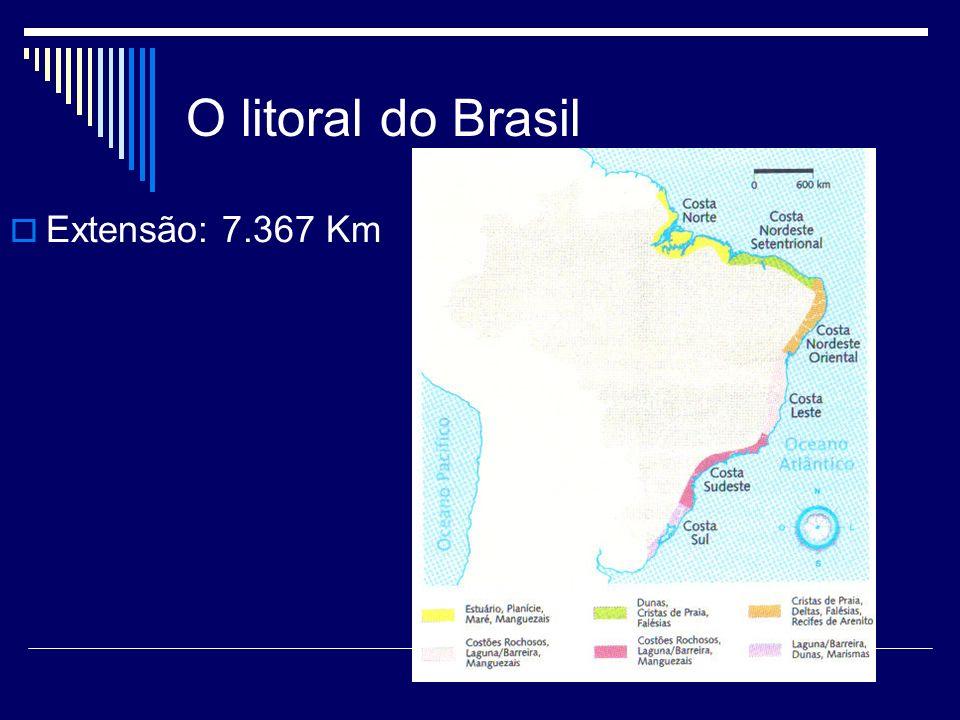 O litoral do Brasil Extensão: 7.367 Km