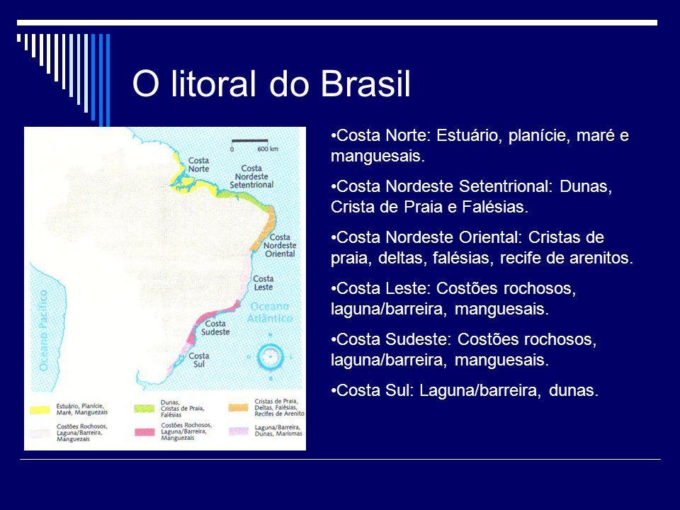 O litoral do Brasil Costa Norte: Estuário, planície, maré e manguesais. Costa Nordeste Setentrional: Dunas, Crista de Praia e Falésias.